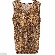 Tommy & Kate Leopard Print Sleeveless Top Cross Over Wrap Size UK 16-18