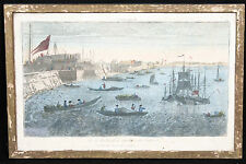 Vue d'optique XVIIIème Blackwall / colored engraving 18th century Blackwall