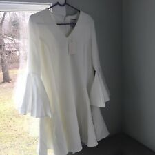 Edit Bell Sleeve Satin Fit N Flare Dress White
