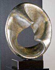 71307 Sculpture Twist de Poly Marbre 50cm Argent Antique sur noir marbre