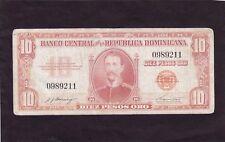 Dominican Republic 10 Pesos Oro  1962 P-93a   Fair (see description)