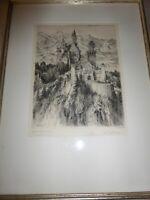 "Vintage Paul Geissler Etching of Neuschwanstein Castle Framed Signed 8x10"" 1921"