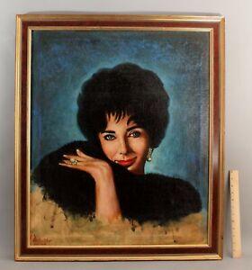 Lifesize 1965 Peter Boruta ELIZABETH TAYLOR Movie Actress Portrait Oil Painting