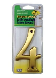 Hy-Ko BR-43BB 4 in. Brushed Brass Nail-On Number