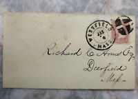 "Ca. 1861 Unique Cancels Postal Cover w/ Scott #65, Westfield MA ""Superintendent"""
