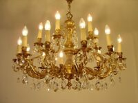LARGE GOLD BRONZE CRYSTAL CHANDELIER LAMP FIXTURES LIGHTINGS 18 L   Ø 35""