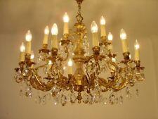 "LARGE GOLD BRONZE CRYSTAL CHANDELIER LAMP FIXTURES LIGHTINGS 18 L   Ø 35"""