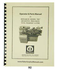 "Monarch 10"" Ee Toolmaker Lathe Early Round Dial Operator, Part, Elect Manual #92"