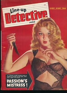 LINE-UP DETECTIVE CASES Feb 1949 Magazine GEORGE GROSS Bloody Knife GGA Cover vv