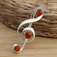 925 Sterling Silver Treble Clef Music Note Brooch Pin Baltic Amber  Jewellery
