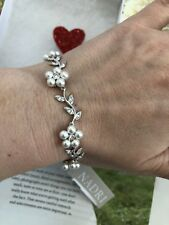 "Nadri bracelet 7"" Flowers w. Swarovski Crystals Rhodium Plated Wedding! NEW$110"