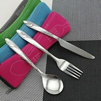 3PCS Stainless Steel Knife Fork Spoon Bag Travel Camping Cutlery +Portable Bag