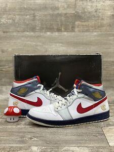Nike Air Jordan Olympic Retro 1 White Red Navy BLUE 2008 136085-161 USA Size 12