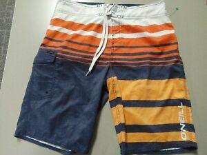 O'Neill Board Shorts Mens 32 Orange/White/Navy Blue Water Shorts