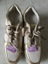 NEW Skechers Wedge Fit Vita Gold Leather Textile Women's Fashion Sneaker Sz 8.5