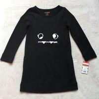 Cat & Jack Girls Halloween Dress, Size 4/5, Black, Monster Face Long Sleeves NEW