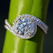 1.60 CT Real Moissanite Diamond Wedding Ring Fine 14Kt White Gold Size O P N M H