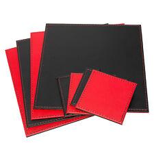 Square Placemats & Coasters Set Black Red Reversible Faux Leather Flip Mats