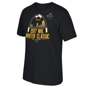 2017 St. Louis Blues Reebok Official Winter Classic Logo Black T-Shirt Men's