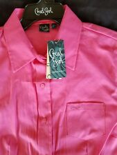 Cruel Girl Arena Fit long sleeve button up shirt. Women's LARGE in pink