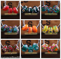 10pcs Murano Lampwork Glass Fit European Charm Bracelet Loose Big Hole Beads