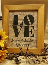 Wedding- Love- burlap-Decor -personalized/ sublimated/8x10