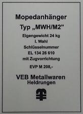 Typenschild für Simson Mopedanhänger / Transporthänger MWH/M2 , Typenaufkleber