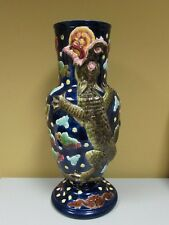 Antique Majolica Figural Umbrella Stand with Alligator