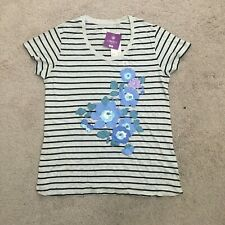 LIBERTY of London for UNIQLO Womens Striped Floral Tee T-Shirt Grey Sz L NEW