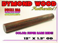 """DYMOND WOOD AUTHENTIC RED VERY RARE 12"""" X 1.5"""" SOLID TURNING BLANK"""