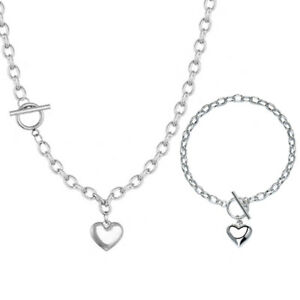 Heart Pendant 925 Silver Plated Chain Necklace Bracelet Set Girls Jewellery Gift