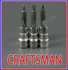 CRAFTSMAN TOOLS 6pc 3/8 phillips / flat blade screwdriver socket wrench bit set