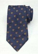 Old Dog Avenue By Mayers Navy Blue Royal Crown Print Men's All Silk Neck Tie USA