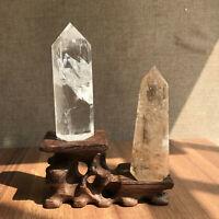 2pcs Natural clear & smokey quartz Obelisk crystal WAND Point healing 0.65LB