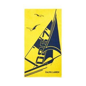 "POLO RALPH LAUREN Sailboat Beach Towel (70"" x 40"" )OVERSIZED  CLAUDE Yellow NWT"