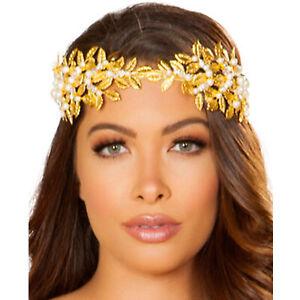 Golden Goddess Headband Leaf Laurel Crown Pearl Diamond Aphrodite Costume 4878
