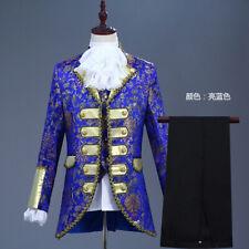 Mens Occident Vintage Court 3Pcs Vest Coat Pant Floral Print Costume Stage Party