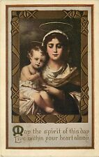 Embossed Christmas Postcard posted 1919 Religious Madonna & Child Frame Vignette