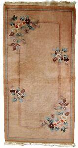 Handmade vintage Art Deco Chinese rug 2.2' x 4.5' (69cm x 139cm) 1950s - 1C649