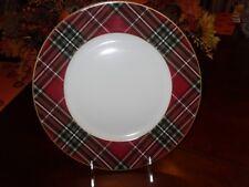 222 FIFTH WEXFORD RED SET/4 DINNER PLATES TARTAN PLAID CHRISTMAS NIB