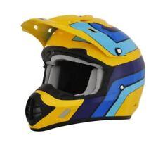 Caschi vintagi gialli per la guida di veicoli moto