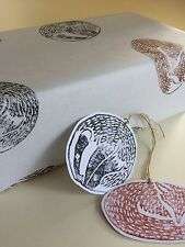 Beautiful Hand Printed Gift Wrap & 2 Tags. Fox and Badger. 70 X 50cm. NEW IN!