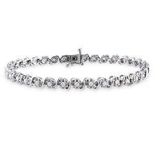 Amour Sterling Silver 1 Ct TDW Diamond Tennis Bracelet K-L I2-I3