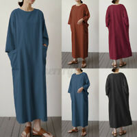 ZANZEA UK Womens Short Sleeve O Neck Cotton Casual Loose Kaftan Long Maxi Dress