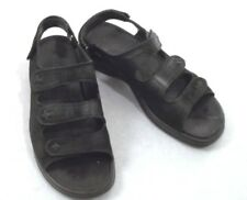 ECCO Primo 3 Strap Hook Loop Black Nubuck Suede Comfort Sandals EU 40 / 9.5 US