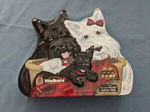"WALKERS SHORTBREAD SCOTTIE DOGS EMPTY TIN CONTAINER 12.03 oz. 12"" x10"" x 2 1/2"""