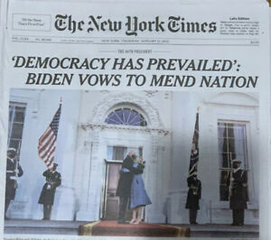 THE NEW YORK TIMES Newspaper Thursday January 21 2021