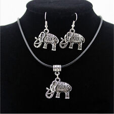 Retro Lady Tibet Silver Necklace Earring Jewelry Set Women Girl Elephant Pendant