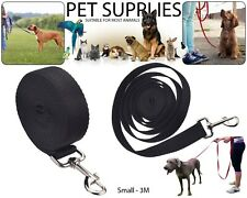 Pet Dog Training Lead Puppy Leash Collar Harness Long Line Strong Rope Black 3M