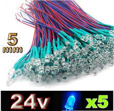 455/5# LED 5mm 24v pré-câblé bleu 5pcs prewired blue LED